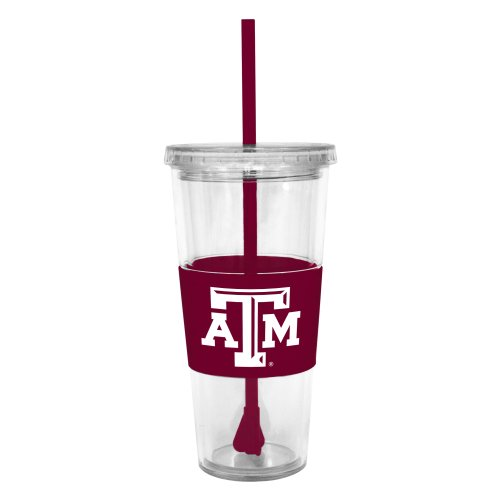 Texas A&m Aggies Tumbler (NCAA Texas A&M Aggies Insulated Tumbler with Rubber Sleeve and Stir Straw,)