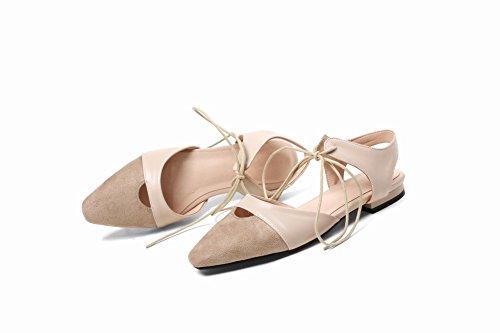 Pied De Charme Femmes Confort Cheville Sangle Lacets Pompes Plates Chaussures Beige