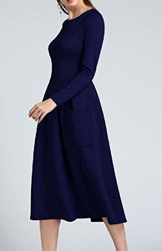 Winter Blue Fall Dress Midi Coolred Long Big Pockets Empire Women Waist Sleeve wIcRqBa