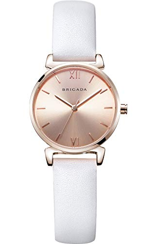 Nice Fashion Elegant Rose Gold Ladies Watch, Swiss Brand Leather Band Waterproof Rose Gold White Dress Watch for Women on - Watch Womens Gold White