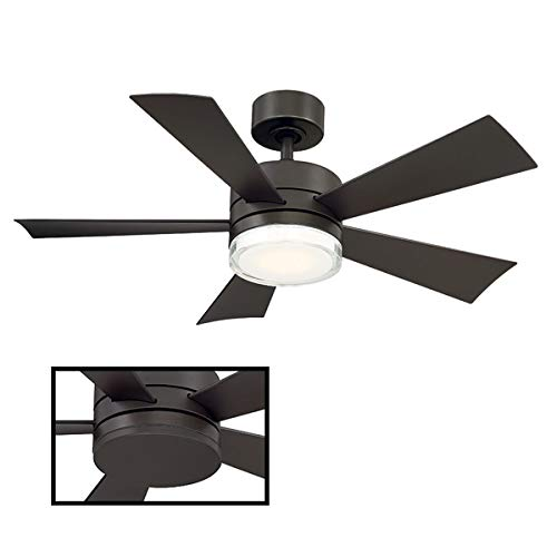 Wynd Indoor/Outdoor 5-Blade Smart Ceiling Fan 42in Bronze with 3000K LED Light Kit and Wall Control works with iOS/Android, Alexa, Google Assistant, Samsung SmartThings, and Ecobee (Marine Grade Stainless Steel Outdoor Ceiling Fans)