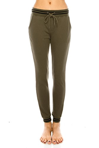 Nolabel P2982 Women's Striped Drawstring Activewear French Terry Jogger Pants Sweatpants With Pockets(Olive/S) (Olive Drawstring)