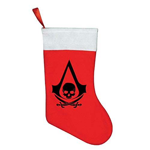 YooSoeLink Christmas Stockings The Assassin Creed Black for Stickers Socks Hanging in Xmas Tree Home Decorations Party Supplies Candy Gift Bag for Kids