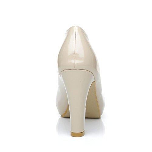 Platform Heel Nude Shoes Court Block Slim Love Leather PU Patent High 8pqnf7O
