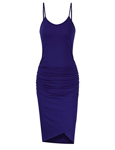 - GloryStar Women Sleeveless Spaghetti Strap Ruched Bodycon Sundress Midi Dress (2XL, Navy)