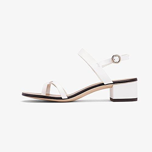 YQQ Klamotten Mit Niedrigen Absätzen Frühlingsschuhe Sommer Sandalen Frauen Schuhe Mädchen Dame Flache Schuhe Gemütlich Lässige Schuhe Kreuz Gürtel (Farbe : Weiß, größe : EU38/UK5.5) Weiß