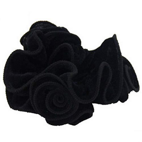 Women Girls Hair Band Ties Rope Ring Velvet Pearl Rose Elastic Ponytail Holder (StyleID - #5-Black)