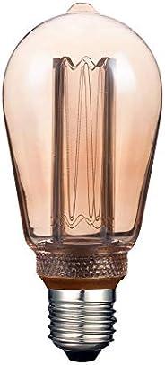 Foco Vintage LED Atenuable / Luz suave cálida, Base E27, Ambar Tecnolite 3DST64LEDFC20VA