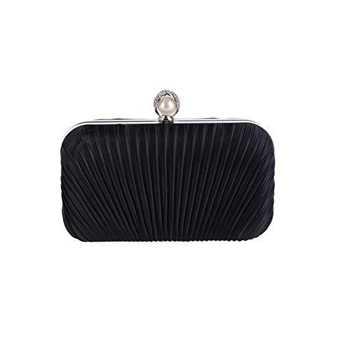 Elegant Hard Box Clutch Silk Satin Champagne Evening Bags Wedding Prom Evening Party Handbag,black