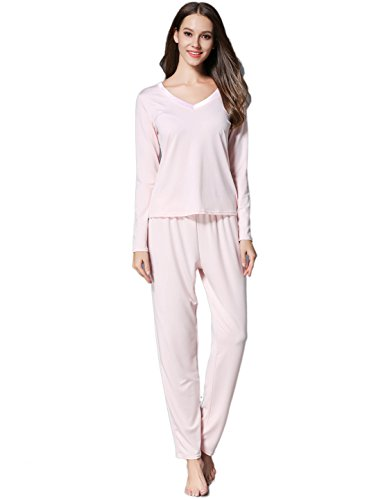 GUANYY Women's V-Neck Sleepwear Long Sleeves Pajama Set With Pants Pink X-Large