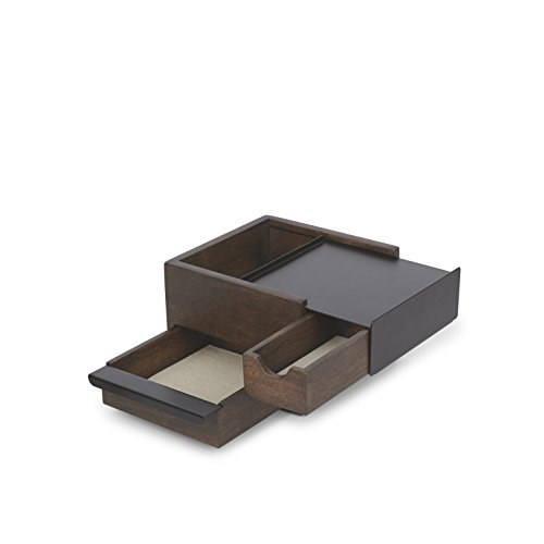 Umbra Mini Stowit Jewelry Box  Modern Keepsake Storage Organizer with Hidden Compartment Drawers for Ring Bracelet Watch Necklace Earrings and Accessories Black / Walnut
