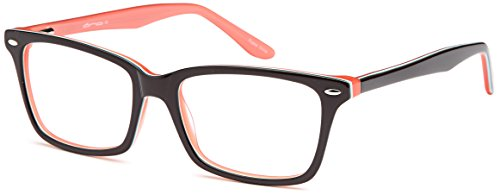 DALIX Womens Wayfarer Two Toned Gummy Eye Glasses 52-17-140 (Black-Pink)