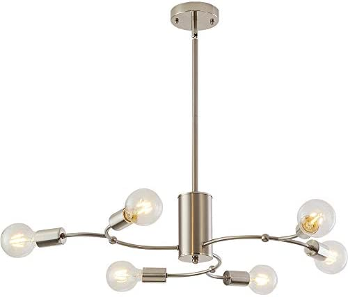 Contemporary Chandeliers Sputnik 6 Lights Modern Pendant Lighting Brushed Nickel Finish Light Sputnik Fixture Semi Flush Mount Ceiling Lighting Modern Pendant Lighting for Kitchen Dining Room