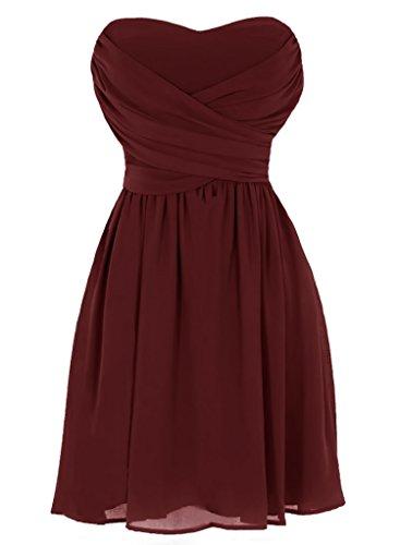 - Dressytailor Women's A-line Strapless Sweetheart Short Chiffon Bridesmaid Dress Burgundy