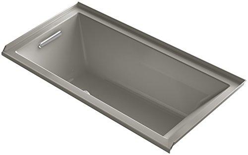 KOHLER K-1167-LFG-K4 Underscore 60-Inch x 30-Inch Alcove BubbleMassage Air Bath with Tile Flange and Left-Hand Drain, Cashmere