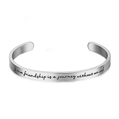 Y&M Inspirational Cuff Open Bracelet Bangle A True Friendship is a Journey Without an end Stainless Steel Cuff Bangle Bracelet