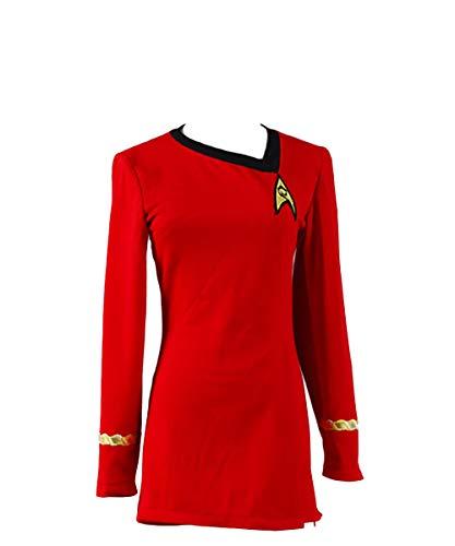 Halloween Deguisement Film Role Costume Casual T-Shirt et Jupe Deguisement Hotesse Jupe Femme Pilote Costume Rouge