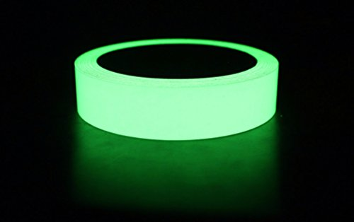 Glow in the Dark Tape - 30 ft x 1 inch - Glow-in-the-Dark Luminous photoluminescent / luminescent emergency roll safety egress markers stairs, walls, steps, exit sign. Glowing pro theatre stage floor