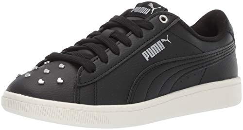 Black & Silver Leather Sneaker - PUMA Women's Vikky Sneaker, Black Silver-Whisper White, 9 M US