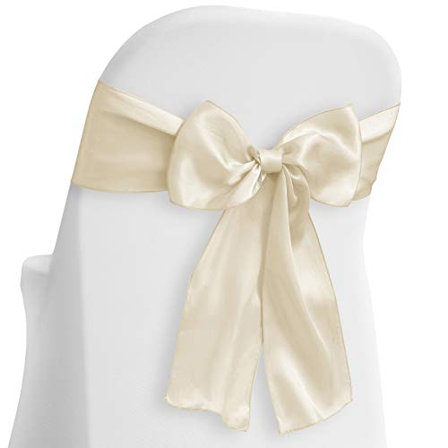 - Lann's Linens - 50 Elegant Satin Wedding/Party Chair Cover Sashes/Bows - Ribbon Tie Back Sash - Ivory