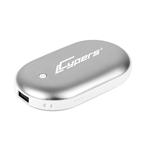 Cypers Double-Side Rechargeable Hand Warmer 5200mAh Portable Power Bank for iPhone, Samsung Galaxy and Android Phone(Silver) - Hand Warmer Fuel Sticks