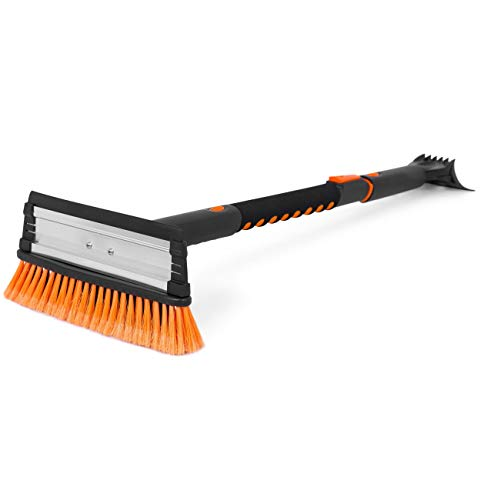 "Snow MOOver 39"" Extendable Snow Brush with Squeegee and Ice Scraper - Foam Grip - Auto Windshield Snowbrush - no Scratch Removal Tool - Car Truck SUV Winter Remover"
