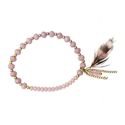 (Pink Pewter Zigi Beaded Elastic Bracelet - Brown/Purple)