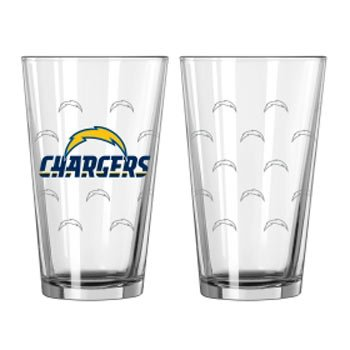 - San Diego Chargers Official NFL 16 fl. oz. Satin Etch Pint Glass Set by Boelter Brands