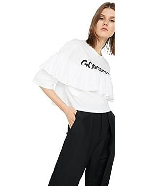 Mango Women's Ruffled Message T-Shirt