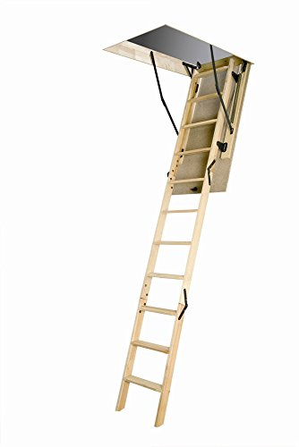 FAKRO LWN 25inx47in Wooden Basic Non-Insulated Attic Ladder 250lbs 8ft 11in by FAKRO