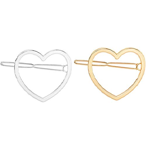 (10 Pcs Simple Heart Shaped Geometric Hair Clips Alloy Hollow Hairpin Clamps Hair Accessories for Women and Girls (Gold and Silver))