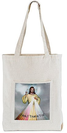 Catholic Divine Mercy Jesus I Trust in You Devotional Large 15 Inch Square Canvas Purse Tote (Catholic Tote Bag)