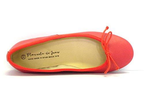 Manuela de Juan Ballerines cuir - Fait main - Mode fille - Rose orangé