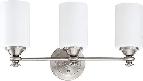 (Craftmade 49803-BNK Dardyn Glass Vanity Wall Lighting, 3-Light, 300 Watts, Brushed Polished Nickel (13