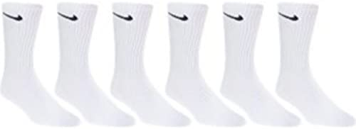 NIKE Cotton Crew Socks -6 PAIR ADULT LARGE Unisex 8-12 (White/Black Swoosh)