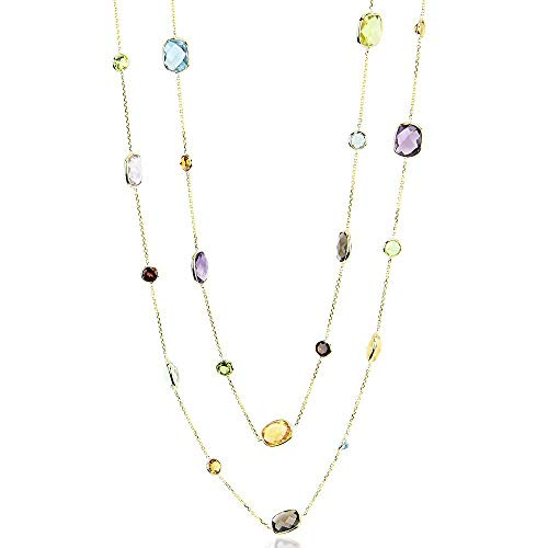 (14K Yellow Gold Station Necklace With Cushion And Round Cut Gemstones 36 Inches)