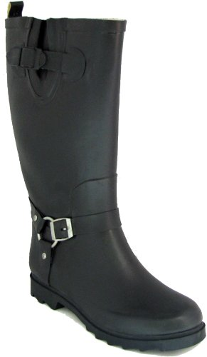 R & B RB Women's Black Rubber Rain Boots Harness Motocycle Mid-calf Wellies Knee High Snow Boots