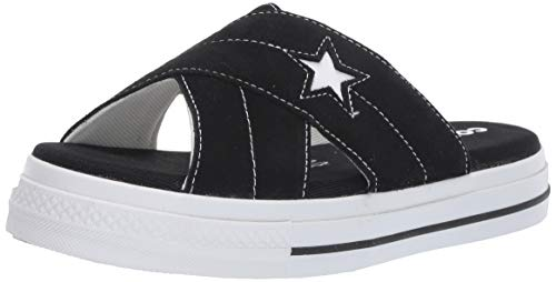 (Converse Women's One Star Suede Slip Sandal, Black/Egret/White 8 M)