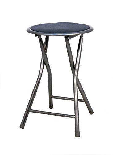 La Chaise espagnole – Lot de 6 tabourets pliants fabriqués en Aluminium avec siège rembourré en PVC. Couleur : Noir. Dimensions : 45 x 30 x 30 cm.