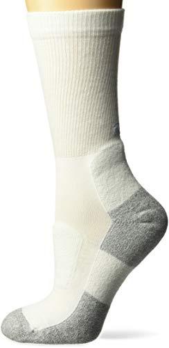 (Thorlos Women's Lite Walking Thin Padded Crew Socks, white Medium )