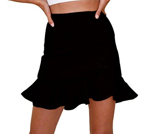 Freestyle t Femme Fashion Chic Couleur Unie C?t Feuille de Lotus Irregulier Jupe de Plage Sexy Package Hanche Mini Jupes de Soire Fte Gala Noir