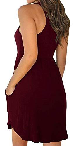 Wine Cintura sin Alto Cuello de tamaño sin Cintura Vestido Mangas Alta Verano Krere Mangas Las Medio de Color de Red de de Mujeres vYH7xq