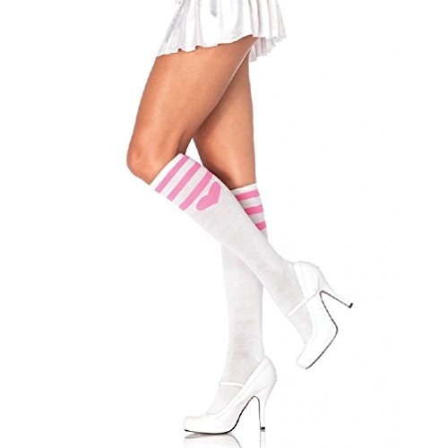 Cheap Fireman Costumes (Sexy Sweetheart Athletic Knee High Socks White Stockings Costume Hosiery)