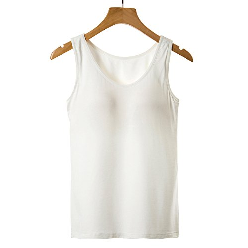 18d4c85965285 Ibeauti Plus Size Womens Tank Tops with Built in Bra Padded Yoga Workout  Tanks (White