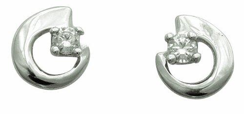 Diamantly - Boucles D'oreilles Volute Cristal - or Gris 375/1000 (9 Carats) - Femme - Fille
