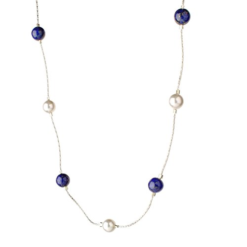 Sterling Silver Chain Necklace Simulated Pearls Made with Swarovski Crystals, Lapis Stone Beads, -