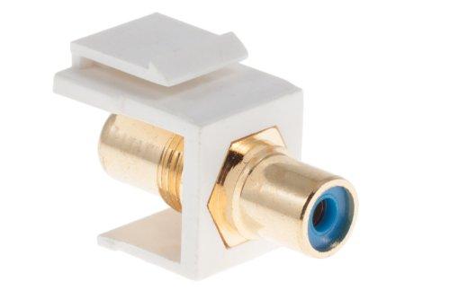 Keystone Snap In Blue RCA Type F/F Module, White,