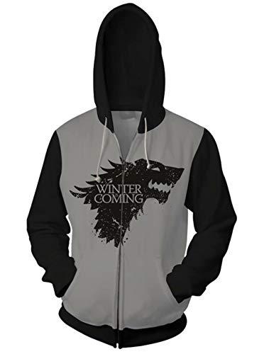 Jon Snow 3D Print Zipper Hoodie Sweatshirts Halloween Cosplay Costumes ()