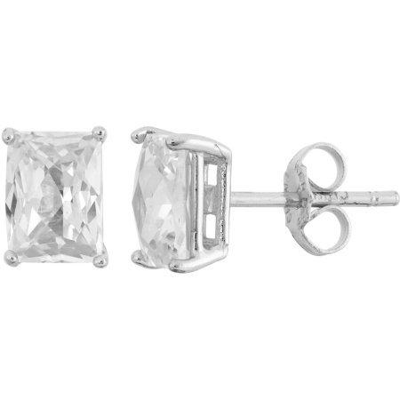 Emerald Cut Checkerboard (White CZ Sterling Silver 5mm x 7mm Checkerboard Emerald-Cut Stud Earrings)