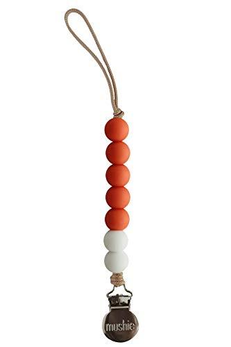 Pumpkin Pacifier - Mushie x The Dearest Grey Baby Pacifier Clip Holder | Handmade in The USA | Joy (Pumpkin Orange/White)